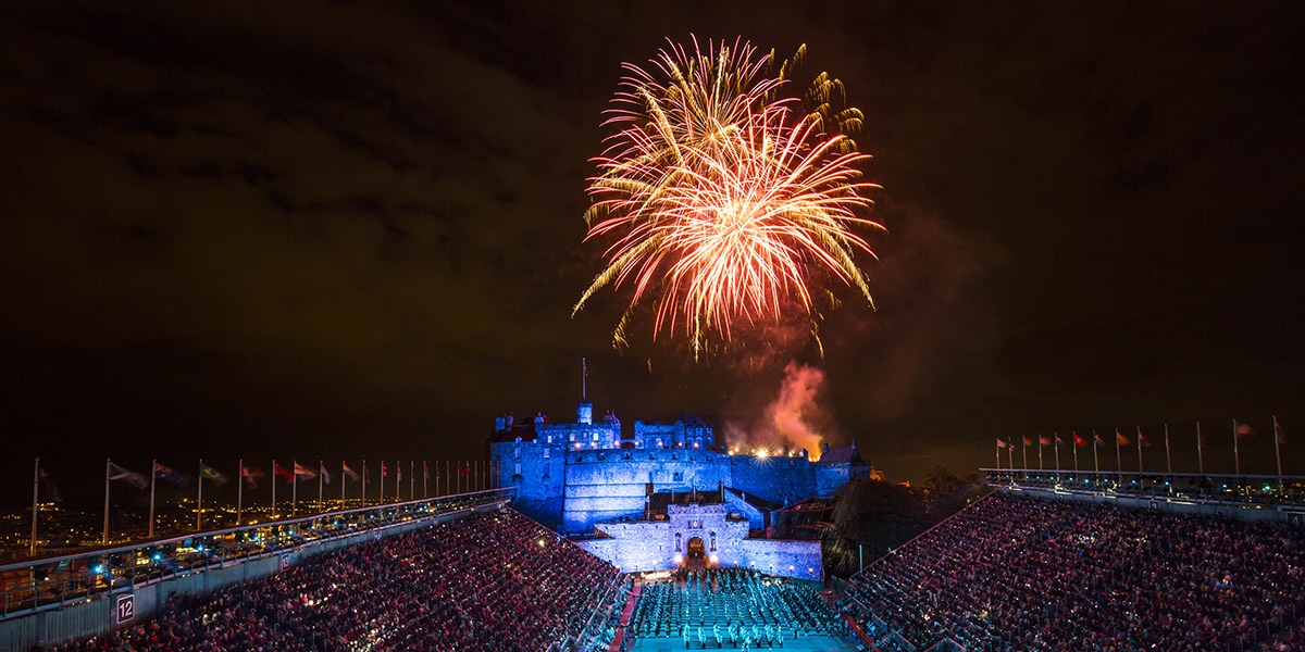The fireworks finale of the Royal Edinburgh Military Tattoo